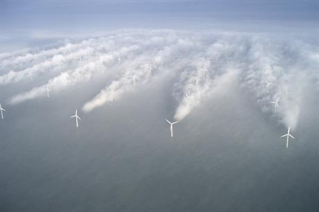 Vattenfall's Horns Rev 1 site off the coast of Denmark offers an insight in to wake affects of individual turbines
