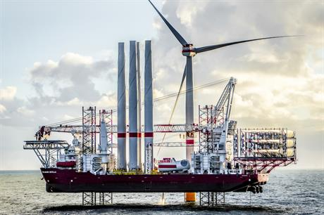 The 402MW Veja Mate project (during construction, above) is Germany's largest online project, according to Windpower Intelligence