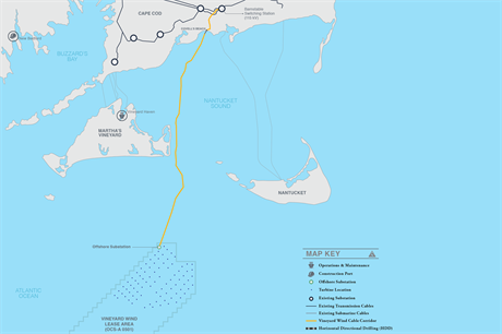 Vineyard Wind is located to the south of Martha's Vineyard, with the export cable planned to make landfall in Massachusetts (pic: Vineyard Wind)