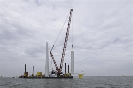 The first tower has been installed at Westermeerwind