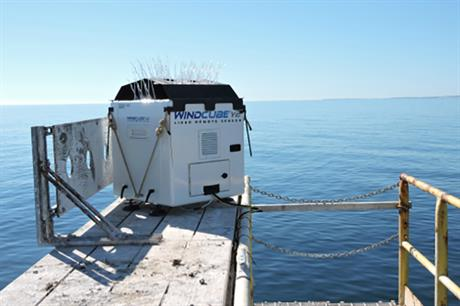 The WindCube lidar installed 3.2 kilometres south of Martha's Vineyard