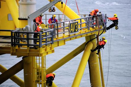 Harsh environment… Technicians working on jacket foundations at Germany's Alpha Ventus project