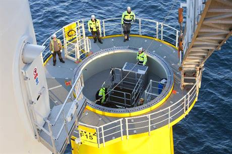 Turbine being installed at Walney