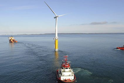 A Hywind foating turbine being tested off the Portuguese coast