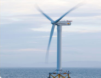 Turbine at Ormonde offshore wind farm, owned by Vattenfall