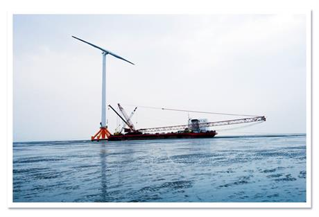 Mingyang's SCD two-bladed turbine... designed by Aerodyn