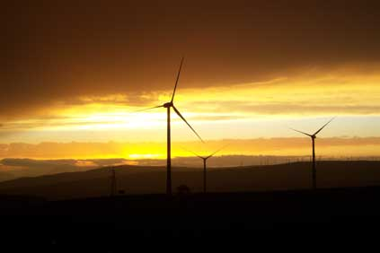 Vestas 2 MW turbines at Erg Renew's 24 MW Faeto wind farm in the southern Italian region of Apulia