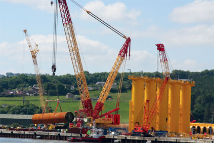 Turbine parts are lifted at the port of Mostyn, Wales, which has been used for work on the North Hoyle and Rhyl Flats wind farms