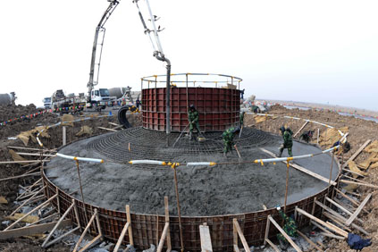 Turbine tower installtion in China, where wind generation surpassed nuclear