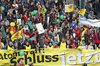 Anti nuclear activists protest German government's u-turn on nuclear phase-out plans