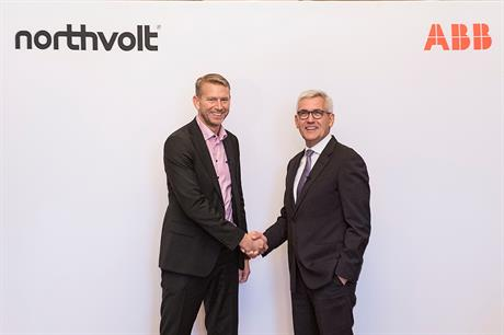 Northvolt CEO Peter Carlsson (left) with ABB CEO Ulrich Spiesshofer