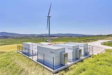 A 3MW turbine is connected to a rapid-response battery and a slower version at Barasoain wind farm (pic credit: Acciona)