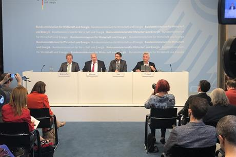 Germany's economy minister Peter Almaier (second left) and other regional German ministers address a press conference after meeting members of the wind industry (pic: BMWi)