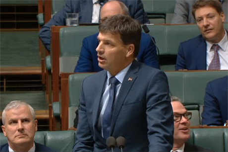 Australian energy minister Angus Taylor addresses parliament (pic: Australia Parliament)