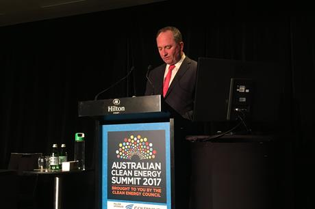 Australia's deputy prime minister Barnaby Joyce speaking at the Clean Energy Summit