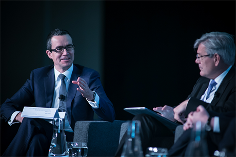 Clean Energy Council chief executive Kane Thornton (left) at the opening session of the Clean Energy Summit in Sydney