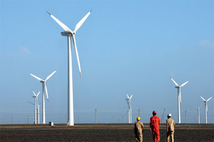 Xinjiang Santanghu's wind farm in north-west China is one of many built in 49.55MW stages