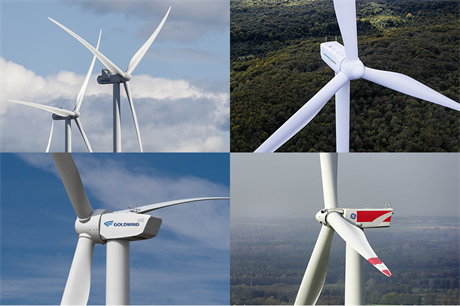 The 'big four' - clockwise from top left: Vestas, Siemens Gamesa, GE and Goldwind