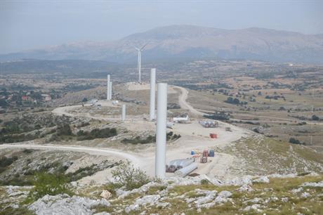 Bosnia & Herzegovina's first wind project Mesihovina under construction last year (pic: JP Elektroprivreda HZ HB)