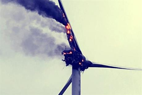 The turbine was left to burn itself out (pic credit: Cambridge Fire & Rescue Service)