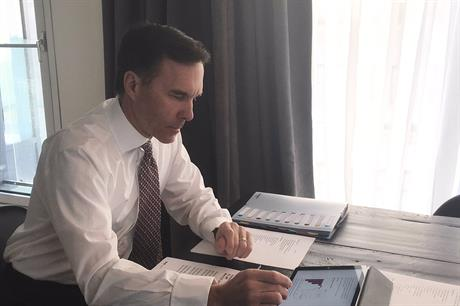 Canadian finance minister Bill Morneau ahead of the budget announcement (pic: Bill Morneau/Twitter)