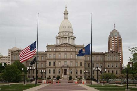 Michigan state capitol... the state votes on Proposition 3 today