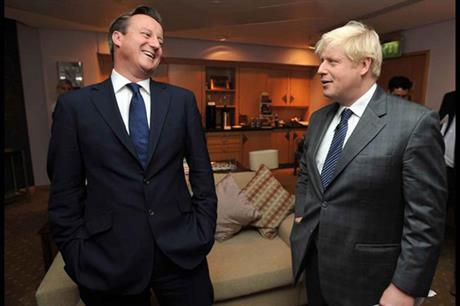 No laughing matter… Remain camp leader David Cameron and Leave figurehead Boris Johnson in happier times (pic: Conservetice Party)