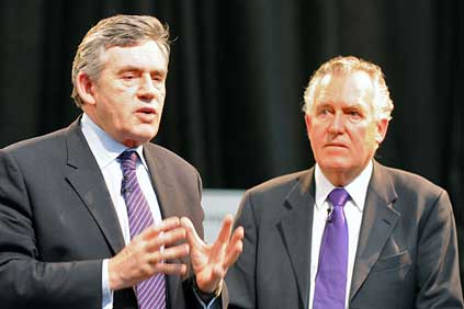 Wales secretary of state Peter Hain (right) with UK prime minister Gordon Brown