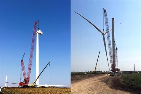 The first SGRE SWT-2.625-120 turbine was installed at Rock Falls wind farm in Oklahoma in September 2017