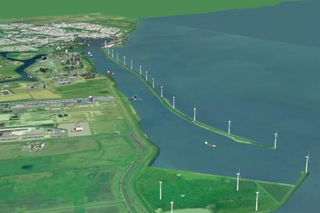 The project features turbines constructed on a dyke