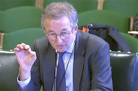 Dieter Helm answers questions in front of the business and energy parliamentary committee (pic: Parliament TV)
