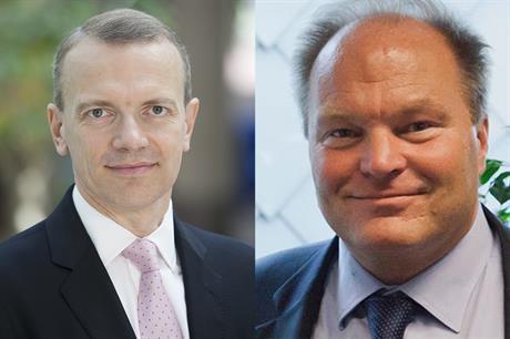 Giles Dickson (right) replaces Thomas Becker as EWEA chief executive