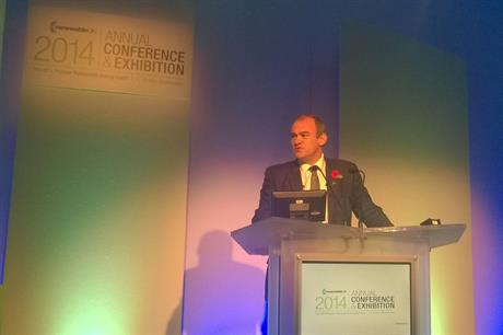 Ed Davey delivers his speech to the RenewableUK conference in Manchester