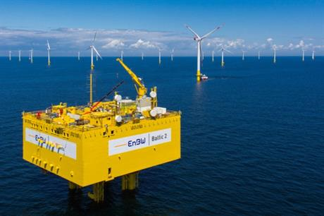 EnBW's Baltic 2 (above) is one of three offshore wind farms to be connected via the 400MW subsea cable