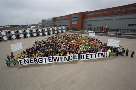 Enercon employees in Aurich protest against the proposed legislation