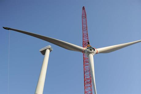 An Envision low wind turbine being installed