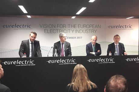 Left to right: EurElectric's secretary general, Kristian Ruby, vice president Magnus Hall, president Francesco Starace and vice president Alistair Phillips-Davies