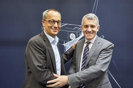 GE Renewable Energy's CEO Jérôme Pécresse and Eni's executive vice president of energy solutions Luca Consentino at the Global Wind Summit in Hamburg