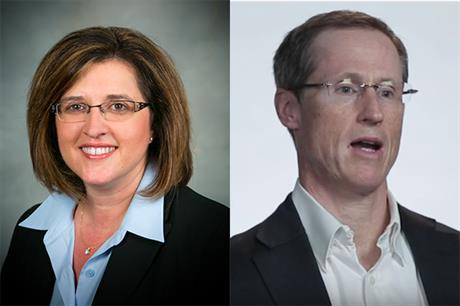 GE's Anne McEntee, left, will take up a new role, with Pete McCabe taking over as onshore CEO