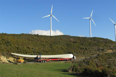 A 64.5-metre blade for Gamesa's G132 turbine is transported to a test facility in northern Spain