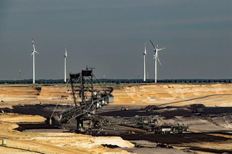 Wind turbines in the distance behind Garzweiler lignite mine in North Rhine-Westphalia, Germany (pic credit: Pixabay)