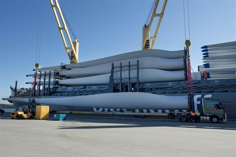 Blades arrive in Australia for Goldwind's turbines being installed at the White Rock wind project