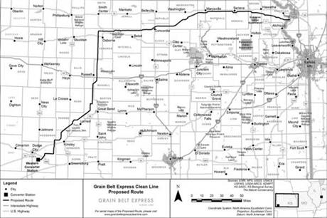 The proposed route of the Grain Belt Clean Line in Kansas