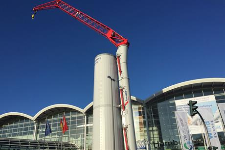 Lagerwey -- part of the Enercon Group -- exhibited the first iteration of the climbing crane at WindEnergy Hamburg 2018