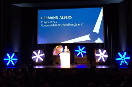 BWE president Hermann Albers addresses the opening session at Husum Wind 2017