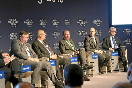 Iberdrola chief executive Ignacio Galan (centre) at the World Economic Forum in Davos (pic: Remy Steinegger)