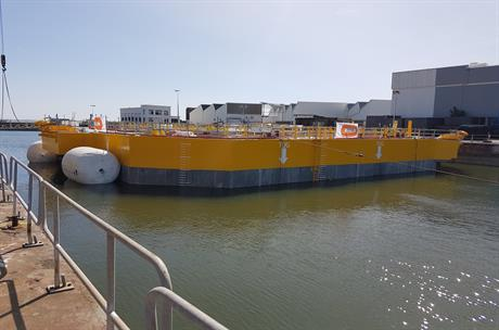Ideol launched its floating foundation in Saint-Nazaire harbour (pic: Ideol)