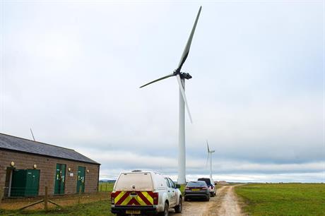 The damaged turbine at Knabs Ridge