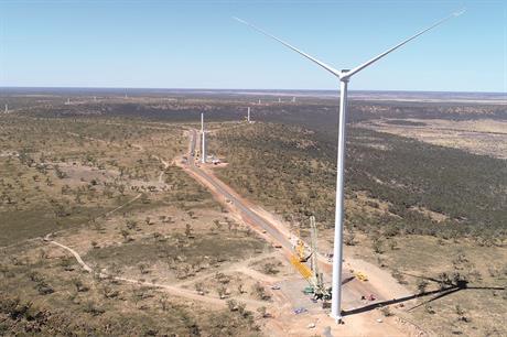 Windlab's hybrid Kennedy Energy Park uses 12 Vestas V136-3.6MW turbines (pic: Windlab)
