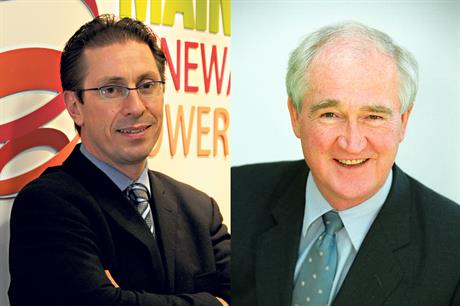 Andy Kinsella (left) replaces Eddie O'Connor as the chief executive of Mainstream Renewable Power